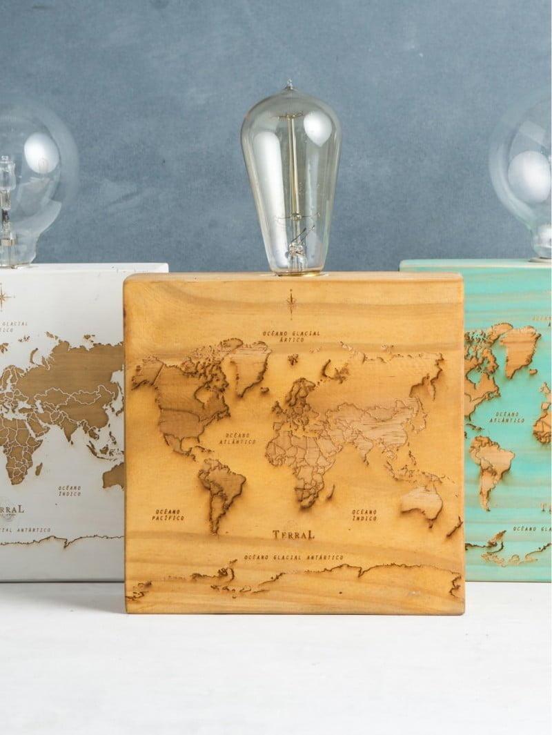 Woodlamp mapamundi 2